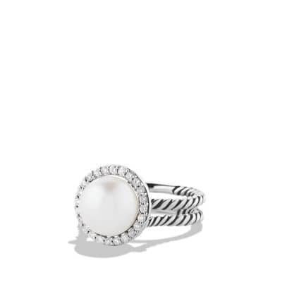 Cable Pearl Ring with Diamonds