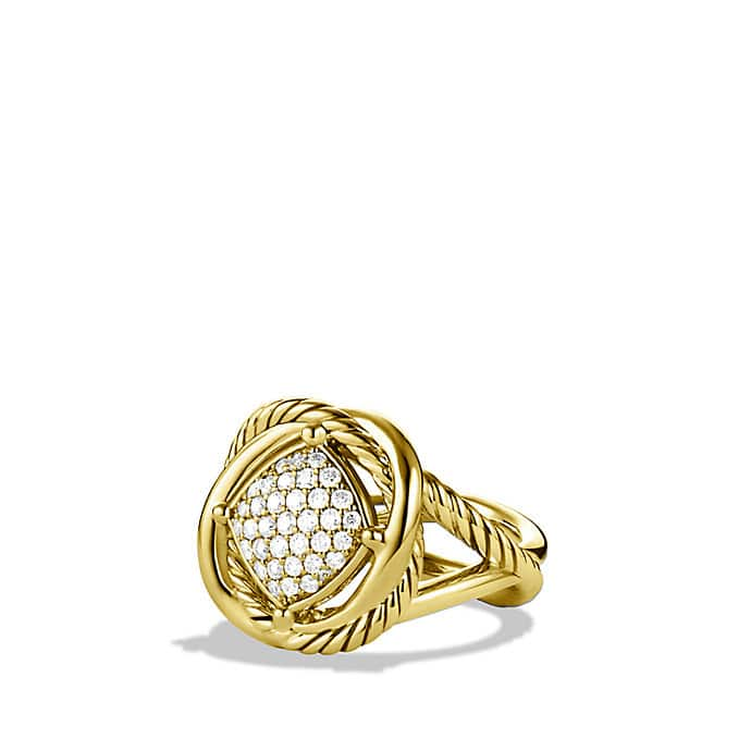 Infinity Ring with Diamonds in Gold
