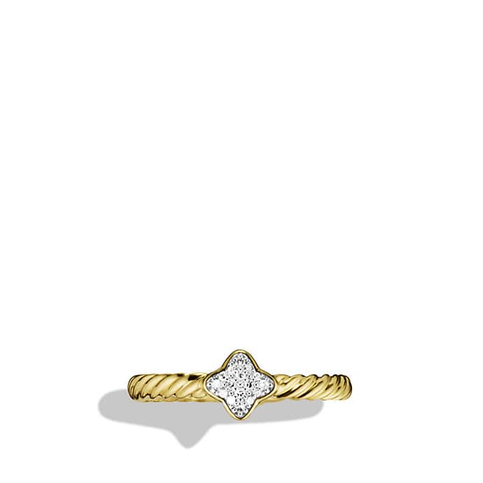 Quatrefoil Ring with Diamonds in Gold