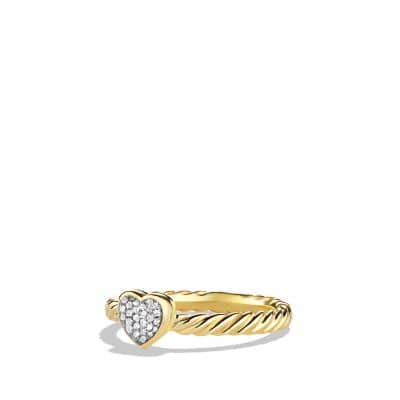 Cable Collectibles Heart Ring with Diamonds in Gold