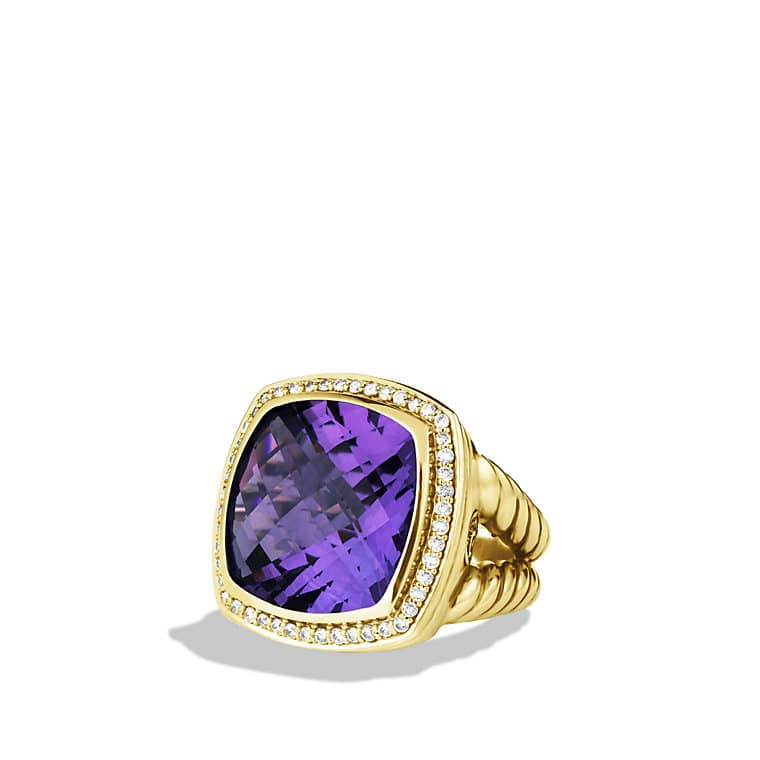 Albion Ring with Amethyst and Diamonds in Gold