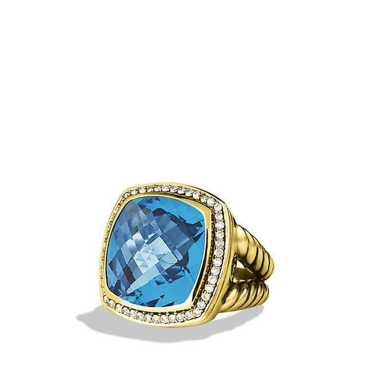 Albion Ring with Blue Topaz and Diamonds in Gold