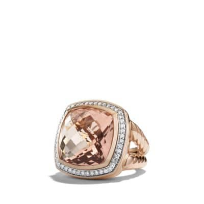 Albion Ring with Morganite and Diamonds in Rose Gold