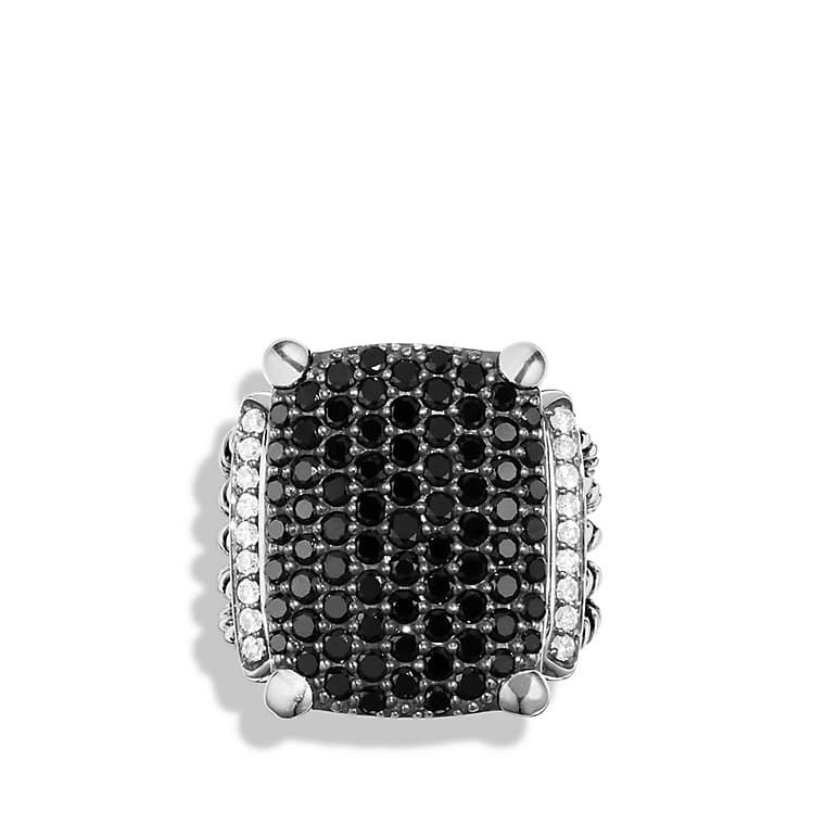 Wheaton Ring with Black and White Diamonds