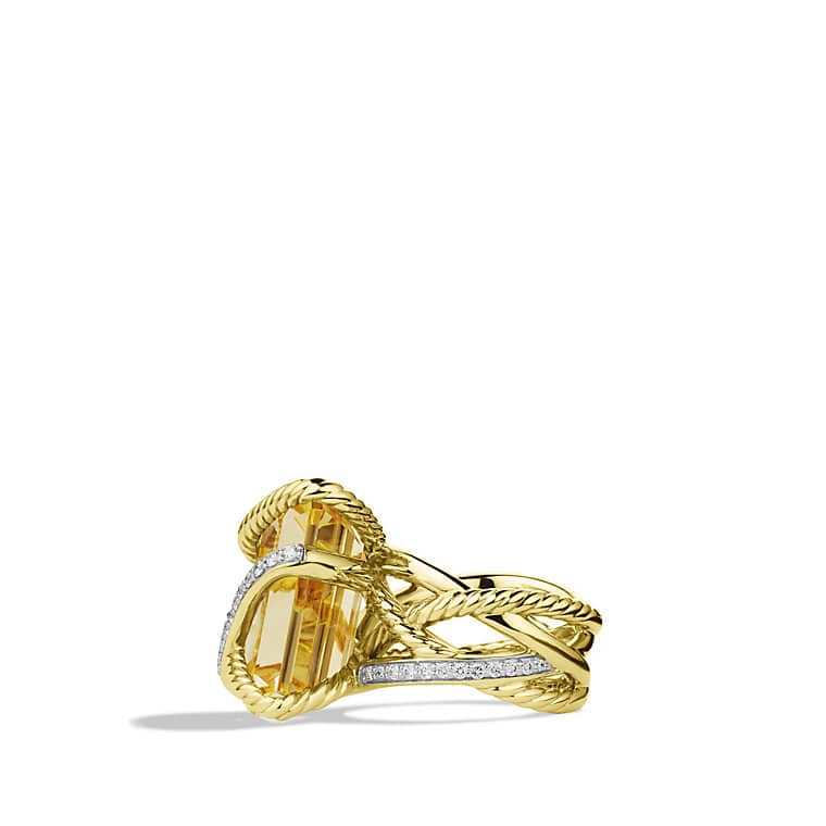 Cable Wrap Ring with Champagne Citrine and Diamonds in Gold