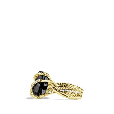 Cable Wrap Ring with Black Onyx and Diamonds in Gold