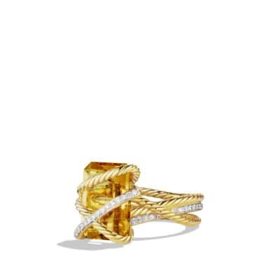 Cable Wrap Ring with Champagne Citrine and Diamonds in 18K Gold