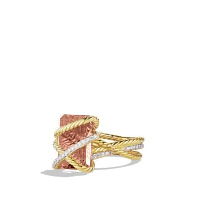 Cable Wrap Ring with Morganite and Diamonds in 18K Gold