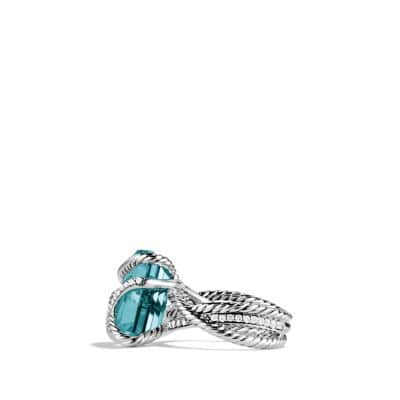 Cable Wrap Ring with Blue Topaz and Diamonds