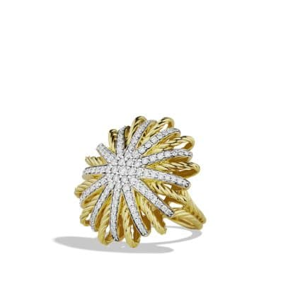 Starburst Ring with Diamonds in 18K Gold