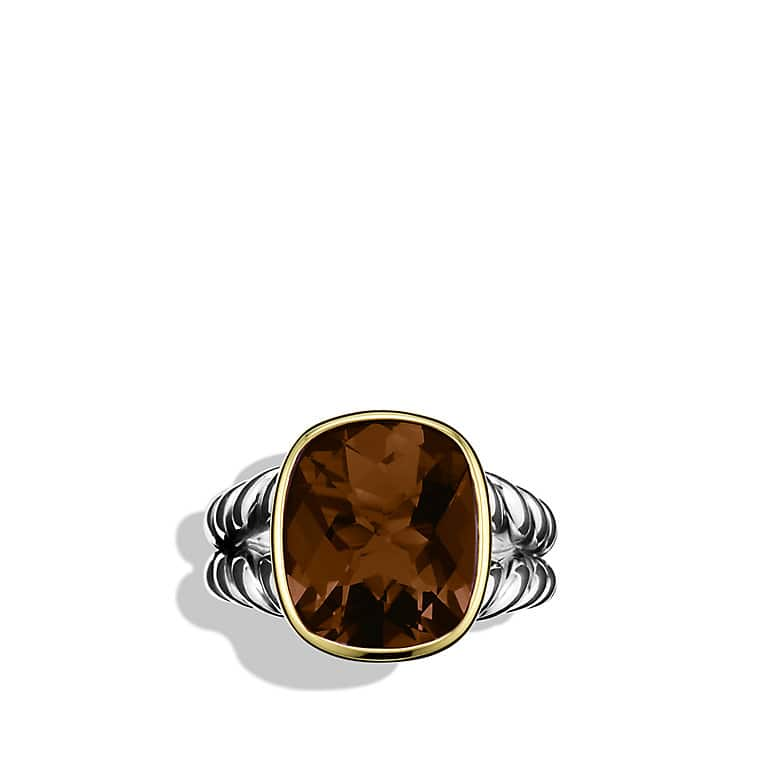 Noblesse Ring with Smoky Quartz and Gold
