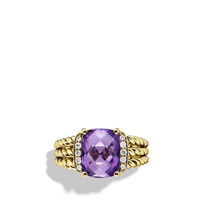 Petite Wheaton Ring with Amethyst and Diamonds in Gold