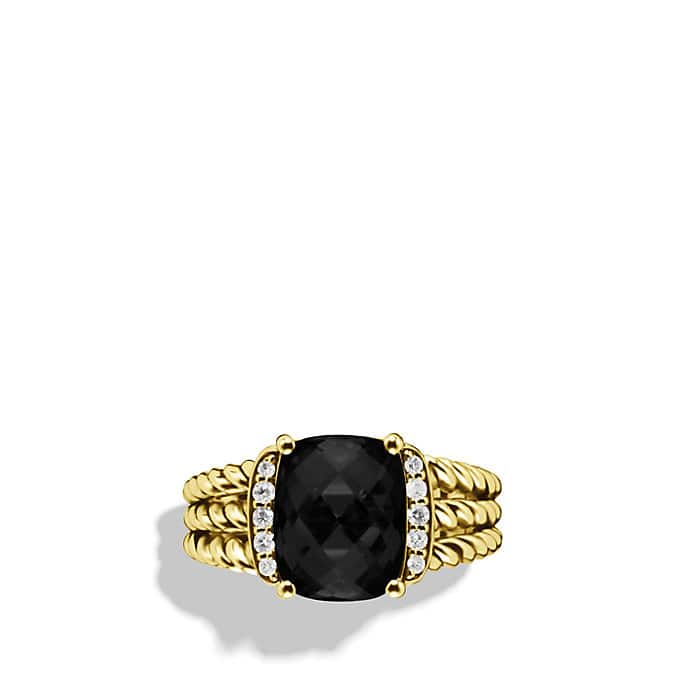 Petite Wheaton Ring with Black Onyx and Diamonds in Gold