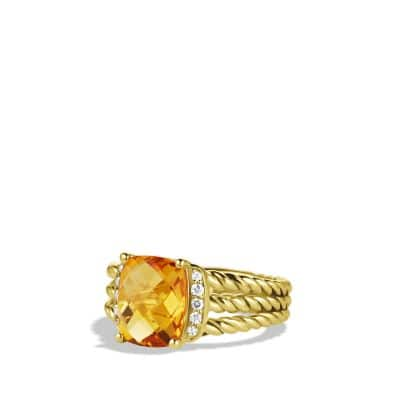Petite Wheaton Ring with Citrine and Diamonds in 18K Gold