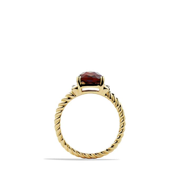 Petite Wheaton Ring with Garnet and Diamonds in Gold