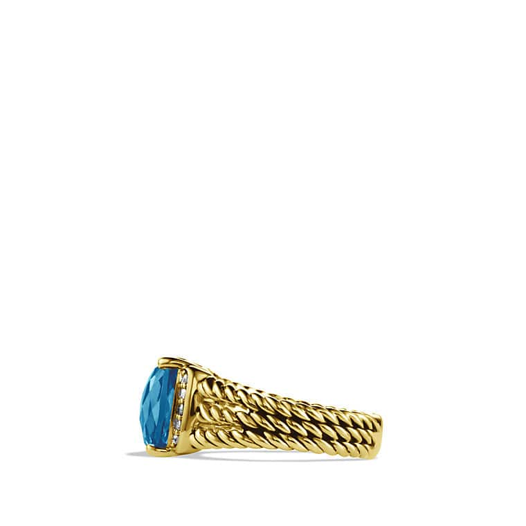 Petite Wheaton Ring with Hampton Blue Topaz and Diamonds in Gold