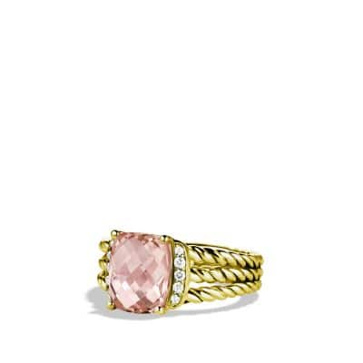 Petite Wheaton Ring with Morganite and Diamonds in 18K Gold
