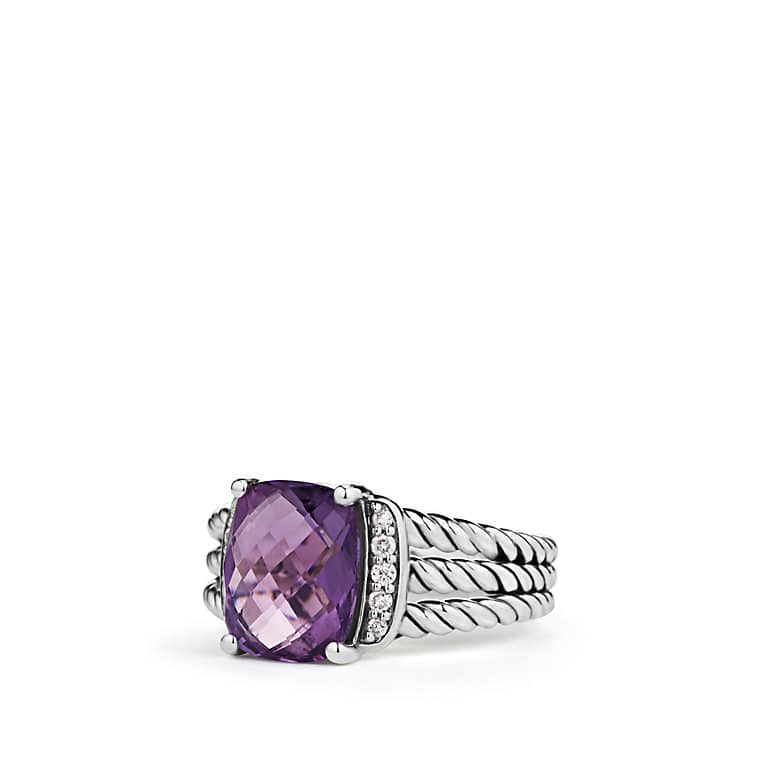 Petite Wheaton® Ring with Amethyst and Diamonds