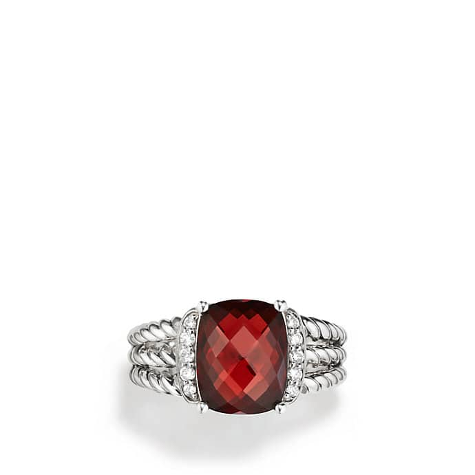 Petite Wheaton Ring with Garnet and Diamonds