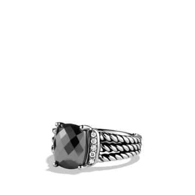 Petite Wheaton Ring with Hematine and Diamonds