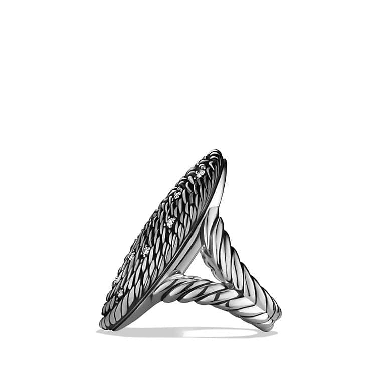 Cable Coil Ring with Diamonds