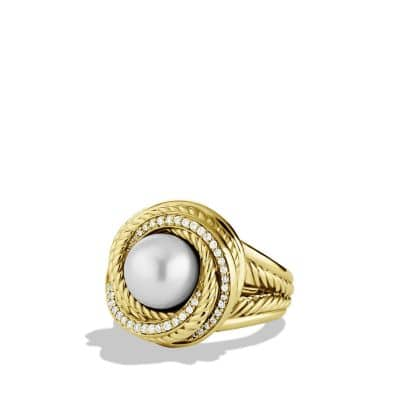 Crossover Pearl Ring with Diamonds in 18K Gold