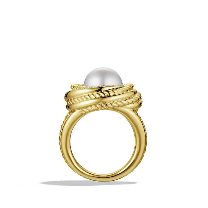 Pearl Crossover Ring with Diamonds in Gold