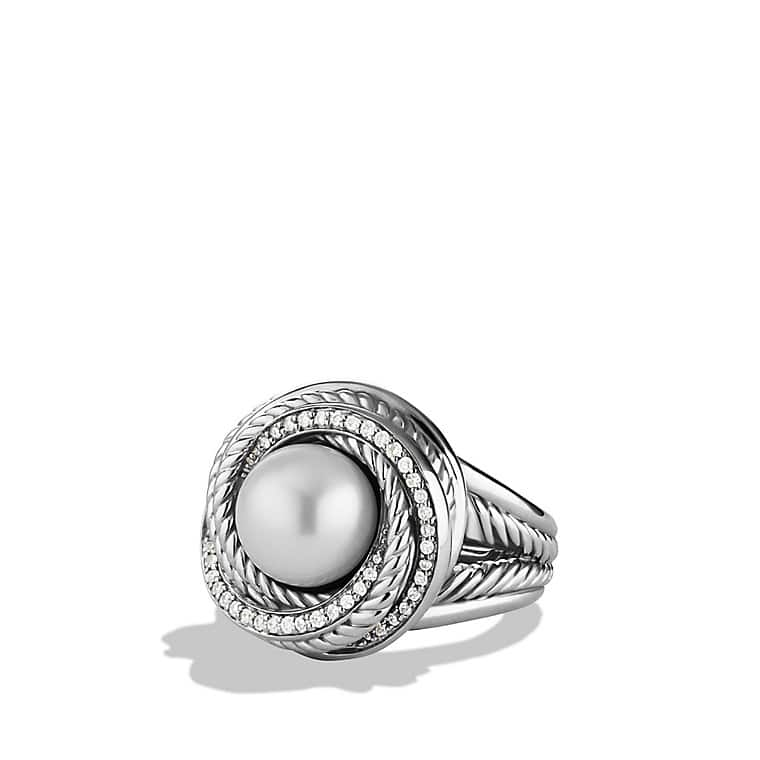 Crossover Pearl Ring with Diamonds