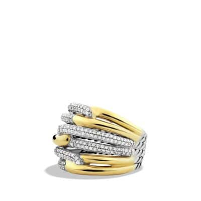 Labyrinth Triple-Loop Ring with Diamonds and Gold