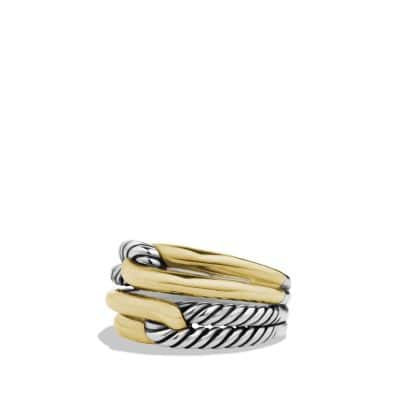 Labyrinth Double-Loop Ring with Gold