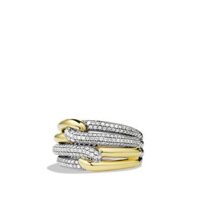 Labyrinth Double-Loop Ring with Diamonds and 18K Gold