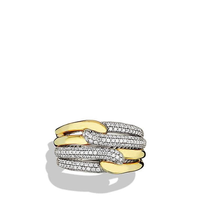 Labyrinth Double-Loop Ring with Diamonds and Gold