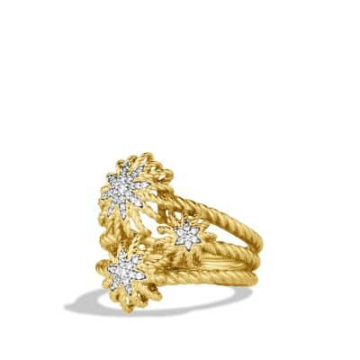 Starburst Cluster Ring with Diamonds in Gold