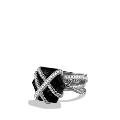 Cable Wrap Ring with Black Onyx and Diamonds thumbnail