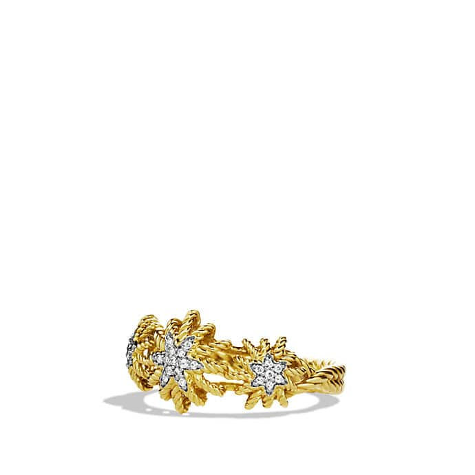 Starburst Three-Station Ring with Diamonds in Gold