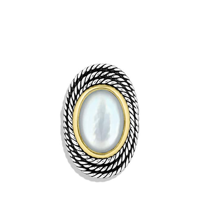 Cable Coil Ring with Moon Quartz and Gold