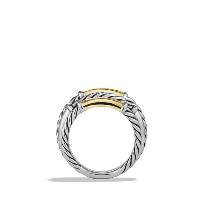 Metro Cable Five-Row Ring with Gold