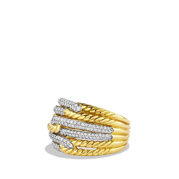Labyrinth Triple-Loop Ring with Diamonds in Gold
