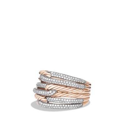 Labyrinth Triple-Loop Ring with Diamonds in Rose Gold