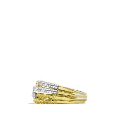 Labyrinth Double-Loop Ring with Diamonds in 18K Gold