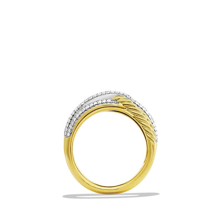 Labyrinth Double-Loop Ring with Diamonds in Gold