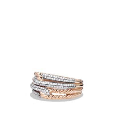 Labyrinth Double-Loop Ring with Diamonds in Rose Gold