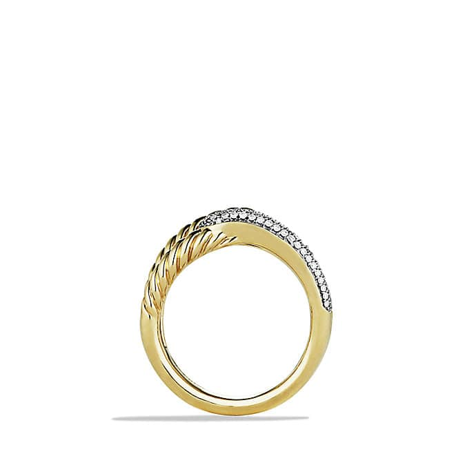 Labyrinth Single-Loop Ring with Diamonds in Gold
