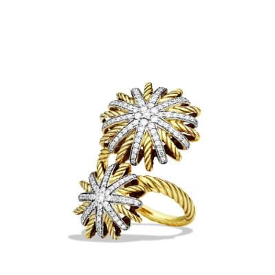 Starburst Open Ring with Diamonds in 18K Gold