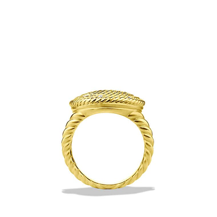 Cable Coil Ring with Diamonds in Gold