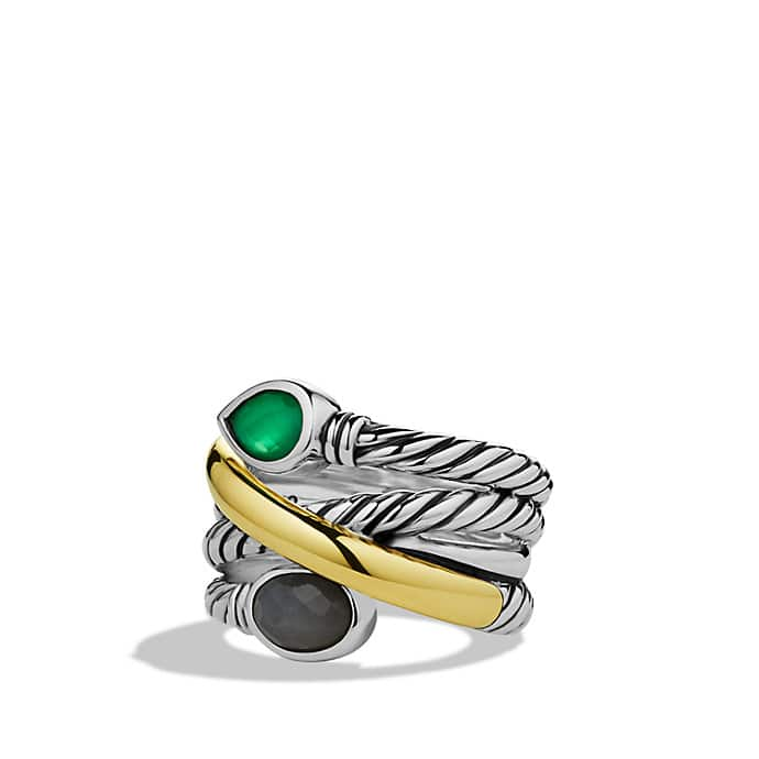 Renaissance Ring with Green Onyx, Gray Sapphires, and Gold