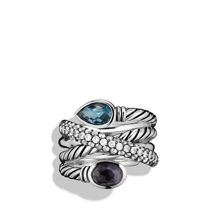Renaissance Ring with Hampton Blue Topaz and Gray Sapphires