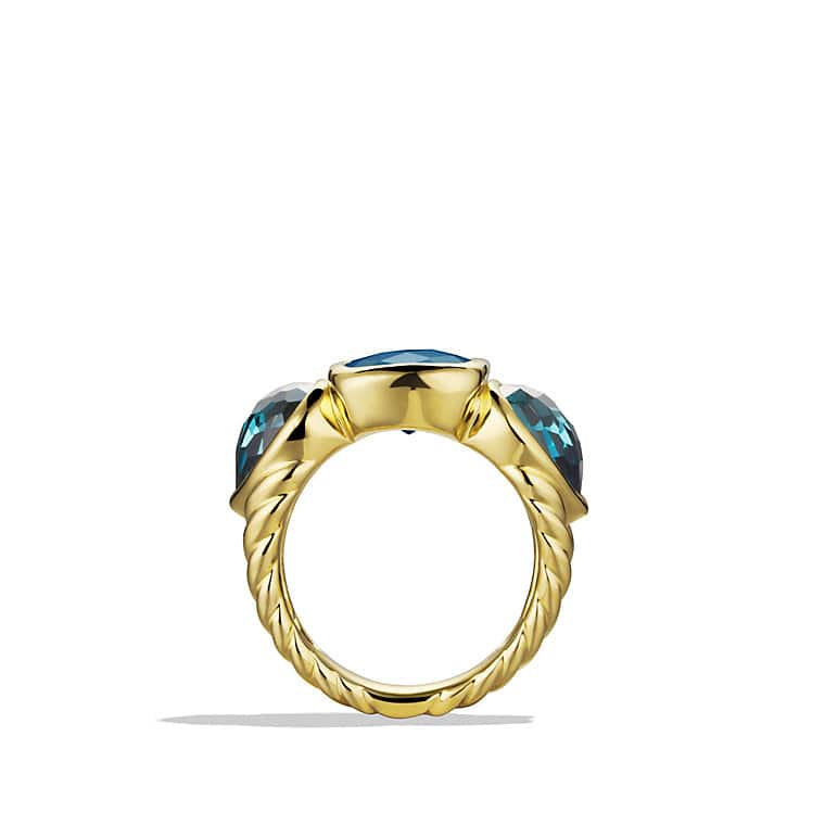 Renaissance Mosaic Three-Stone Ring with Green Tourmaline and Hampton Blue Topaz in Gold