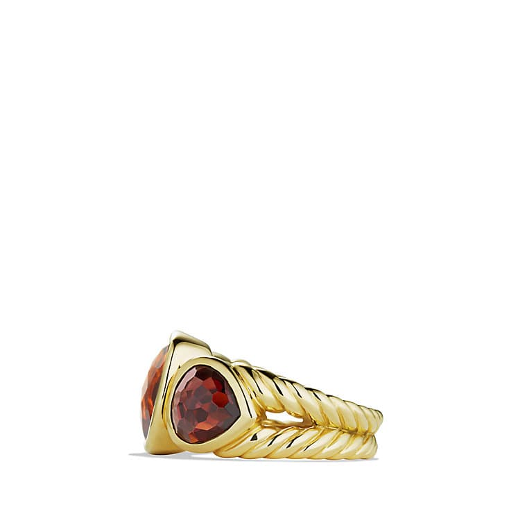 Renaissance Mosaic Three-Stone Ring with Madeira Citrine, Rhodalite Garnet in Gold