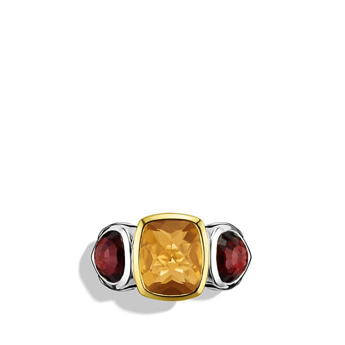 Mosaic Three-Stone Ring with Rhodolite Garnet, Citrine, and Gold